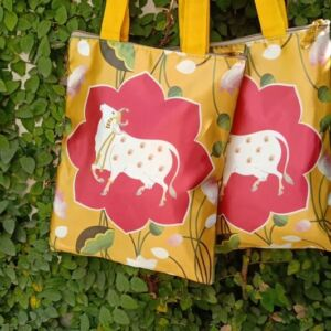 Digital print raw silk bag with cow print