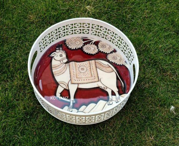 round metal kalamkari printed tray