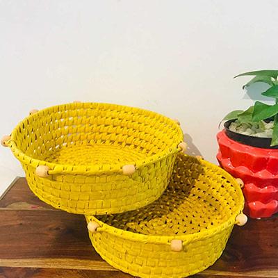 Handmade palm leaf tray